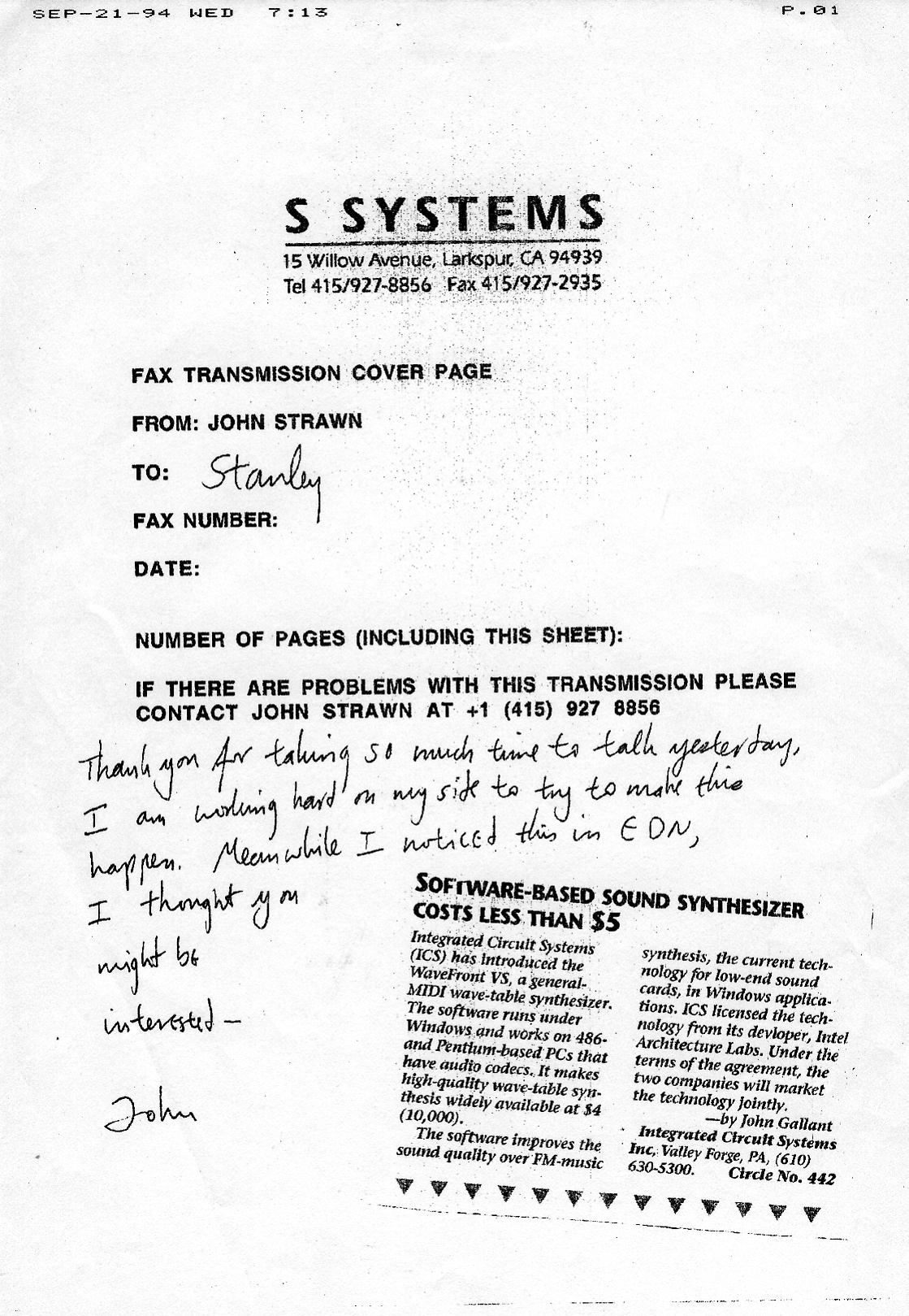 940921 S SYSTEMS FAX